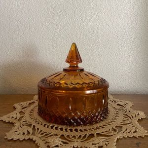 Vintage 70s Amber Glass Candydish